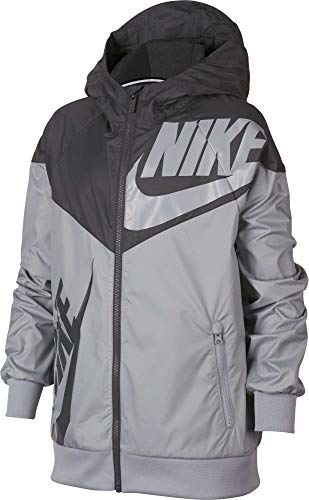 Nike Boy's Sportswear Graphic Windrunner Jacket (Gray, Small) by Nike