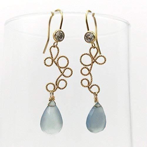 White Topaz Blue Chalcedony Dangle Drop Earrings | Fine Gemstone Jewelry Sale | Anniversary Birthday Gifts | 2 Inch (Chalcedony Earrings Topaz Blue)