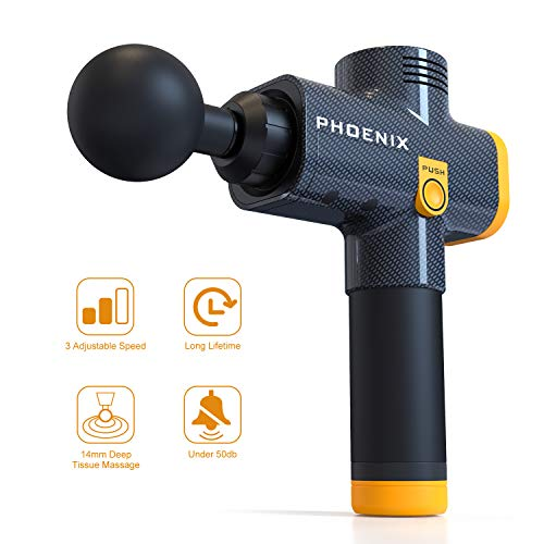 Muscle Massager Massage Gun,Cordless Handheld Deep Tissue Percussion Massager for Muscles, Back, Body, Neck, Foot, Shoulder,Leg to Relieve Muscle Soreness Stiffness Muscle and Recovery (Black-Orange)