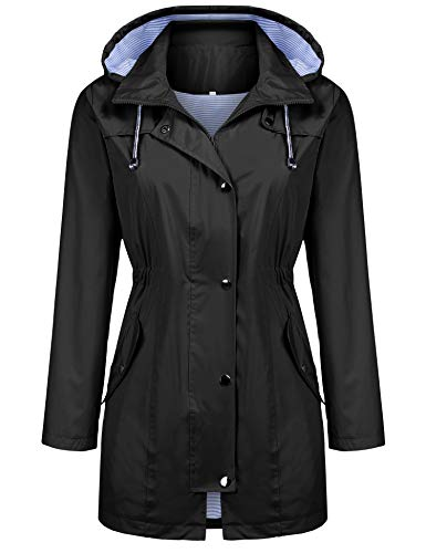 Kikibell Raincoat Waterproof Outdoor Hooded Rain Jacket Windbreaker Black XL