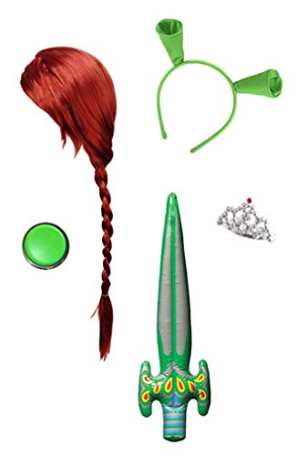 Sanctuarie Designs Fiona Deluxe 5pc Kit: Wig, Ears, Crown, Makeup & Sword Only, No Dress Red/Green -