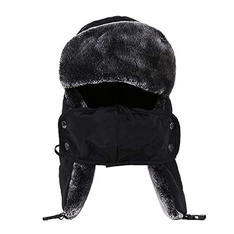 Amazon.com  Lannmart Russian Russian Man Earflap Winter Thick Fur Ushanka Hats  Windproof Thick Warm Winter Snow Women Cap Face Mask Men Cycling Hat   Kitchen ... cb799c9ced24