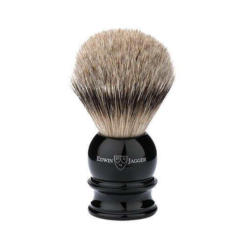 Edwin Jagger Silver Tip Badger Shaving Brush, Medium, Black by Edwin Jagger