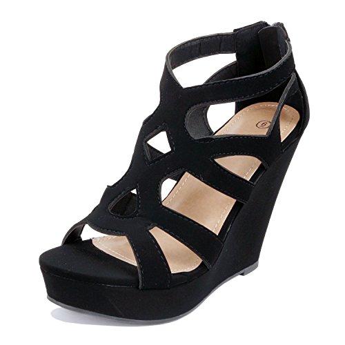 Guilty Shoes Womens Gladiator Strappy Buckles - High Heel Platform Wedge Sandals (10 B(M) US, Blackv1 Pu) ()