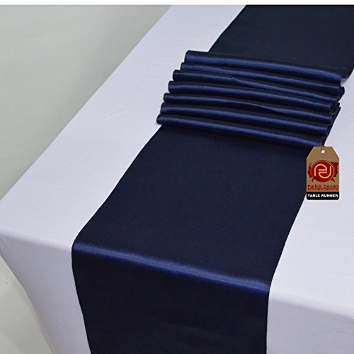 Parfair Dessin Pack of 5 Satin Table Runners 12 x 108 inch for Wedding Banquet Decoration, Bright Silk and Smooth Fabric Party Table Runner - Navy Blue (Finish Finish Satin Gold)