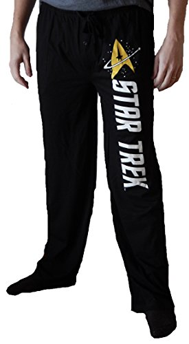 Haunted Flower Star Trek Gold Emblem Mens Black Sleep Pants M -