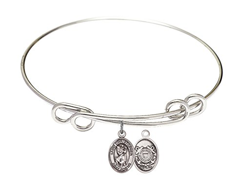 8 1/2 inch Round Double Loop Bangle Bracelet w/St. Christopher/Coast Guard in Sterling Silver (Coast Guard Christopher)