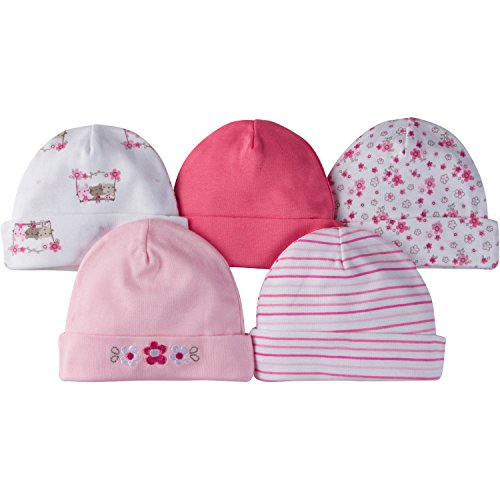 Gerber Baby Girls 5 Pack Cap, Lil' Flowers, 0-6 Months ()