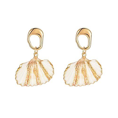 Hstore Women Dangle Drop Irregular Earrings Whimsical Fashion Handmade Gold Earring Geometric Sea Shell Beach Vacation Club Party Accessory - Whimsical Square Womens