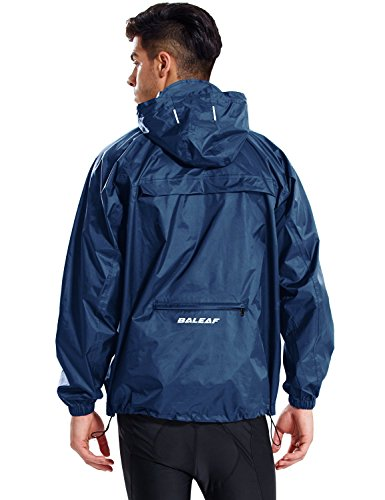 Baleaf Unisex Packable Outdoor Waterproof Rain Jacket Hooded Raincoat Poncho Navy Size L
