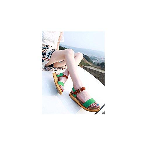 Calzado de mujer, Casual peep-toe sandalias de la hebilla plana romanos Verde