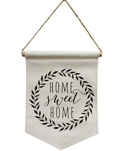 NITYNP Home Sweet Home, Banner Linen Flag Wall Decor Sign with Rope,Sayings for Office and Home Decor 15.8''x11.38''