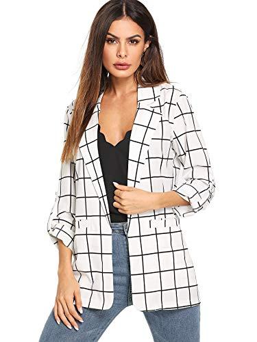 Milumia Women's Fashion Open Front Plaid Casual Work Office Jacket Blazer White