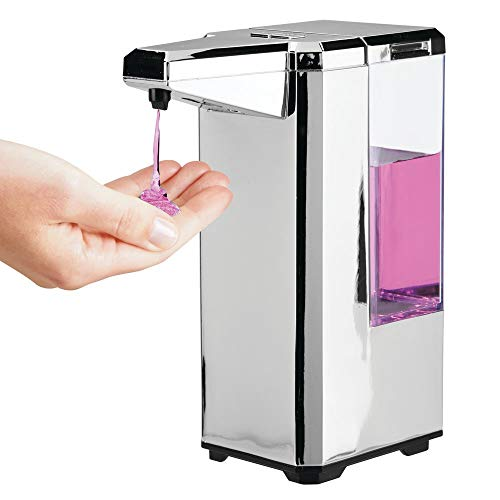 mDesign Plastic Hands Free Automatic Liquid Soap Dispenser Pump for Kitchen or Bathroom - Has Motion Sensor, Low Battery Indicator, 5 Modes of Dispensing - Non-Skid, Elevated Feet - Chrome/Clear