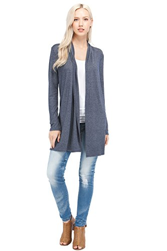 396b9abecdc EttelLut Long Open Front Lightweight Cardigan Sweaters Regular Plus Size