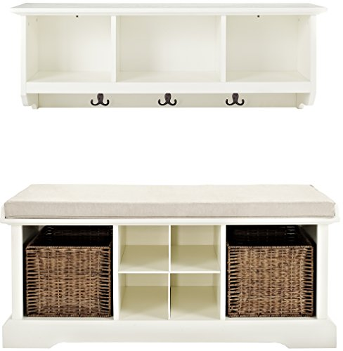 Crosley Furniture  Brennan Entryway Storage Bench and Hanging Shelf Set, White - Solid Hardwood and Veneer Construction Variety of Colors to Match any Décor Includes Two Wicker Storage Baskets - hall-trees, entryway-furniture-decor, entryway-laundry-room - 41AdSeoDm2L -