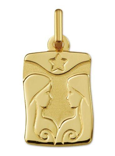 www.diamants-perles.com - Médaille Zodiaque - Or jaune 750/1000 - GEMEAUX