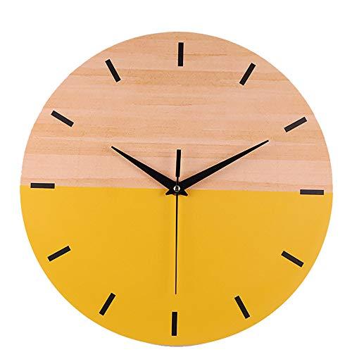 Silent Sweep Modern Elegant Wood Grain Creative Clock Home Decoration Gift