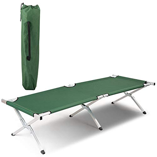 Green Foldable Camping Bed Portable Military Cot Hiking Travel w/Carrying Bag