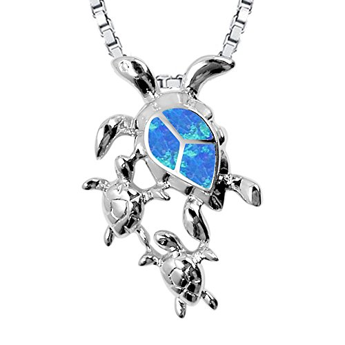Sinlifu Latest Fashion Silver Plated Opal CZ Sea Turtle Women Jewelry (Blue: Three (Silver Turtle Necklace)
