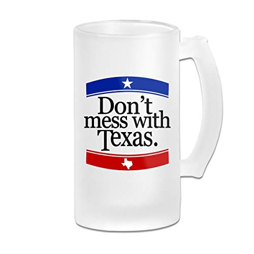 Don't Mess with Texas Frosted Glass Tumbler Beer Cup 16 Oz Water Glass Drinkware