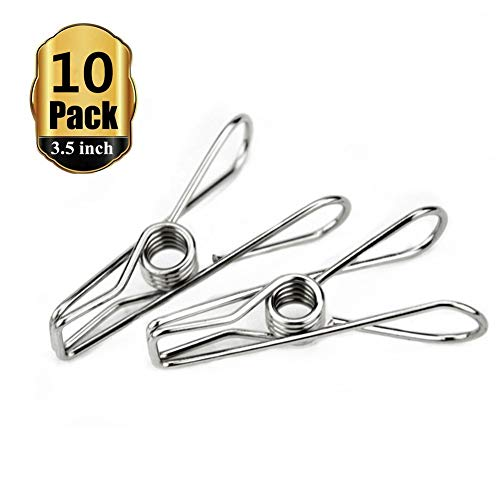 (Yamde 10 Pack 3.5 inch Big Heavy Duty Stainless Steel Wire Clips for Drying on Clothesline Clothespins Hanging Clip Hooks for Home Laundry Office)