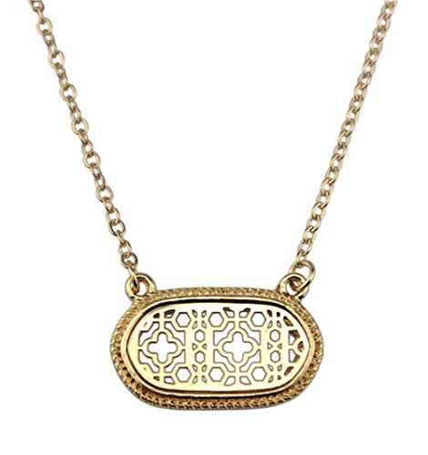 Country Classics Extension - stylesilove Womens Trendy Two-Tone Cutout Quatrefoil Motif Oval Choker Necklace (Gold)