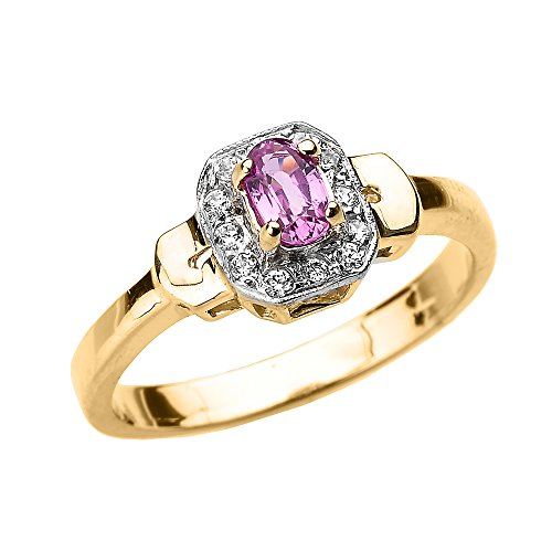 Solid 10k Yellow Gold Beautiful Diamond and Pink Sapphire Engagement Ring (Size 6) Claddagh Pink Sapphire Ring