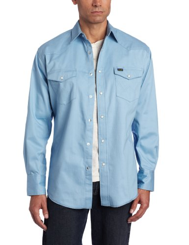 Wrangler Men's Premium Performance Twill Work Shirt, Light Blue, - Shirt Wrangler Twill Blue