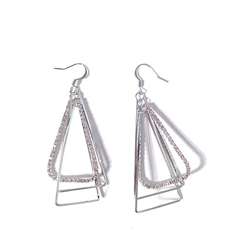 - Fahion Dangle Drop Sterling Silver Aztec 3D Triangle Pyramid Diva Gypsy Fully-Jewelled Earrings