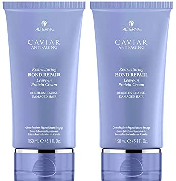 CAVIAR Anti-Aging Restructuring Bond Repair Leave-in Protein Cream, 5.09-Ounce 2-Pack