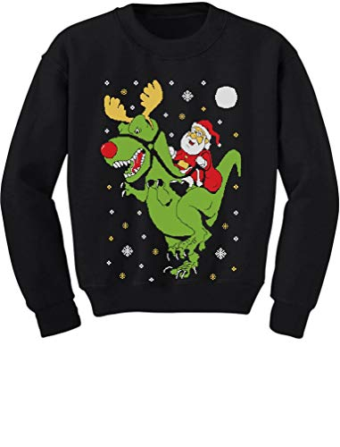 T-Rex Santa Ride Funny Ugly Christmas Sweater Toddler/Kids Sweatshirts 4T Black