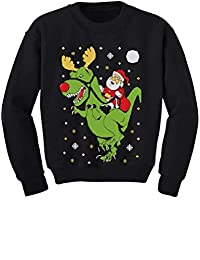 T-Rex Santa Ride Funny Ugly Christmas Sweater Toddler/Kids Sweatshirts