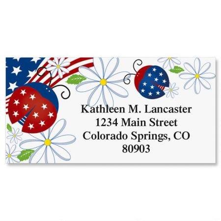 - Patriotic Ladybug Personalized Border Return Address labels- Set of 144 1-1/8