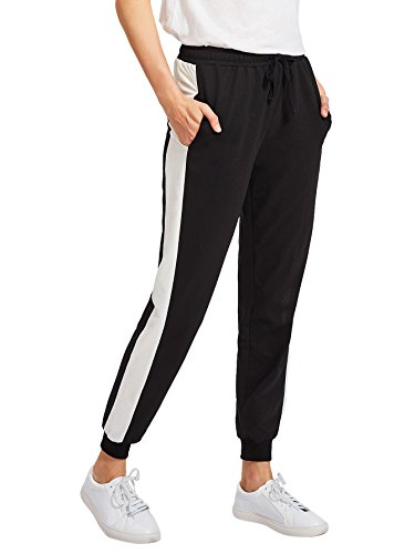 SweatyRocks Women Pants Colorblock Uninterested Tie Waist Yoga Jogger Pants Black White S