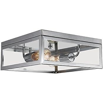 Globe electric memphis 2 light flush mount ceiling light chrome globe electric memphis 2 light flush mount ceiling light chrome finish clear glass aloadofball Choice Image
