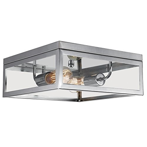 Globe Electric Memphis 2-Light Flush Mount Ceiling Light, Chrome Finish, Clear Glass Panes, 65747 (Fixture Chrome Ceiling)