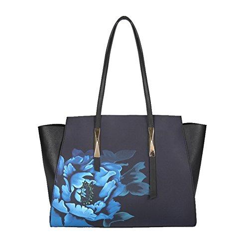 VogueZone009 Azzurro tracolla Borse Moda a Borse di Style Luccichio Tote Azzurro Tessuto Donna CCALBP181207 Orvn6WO