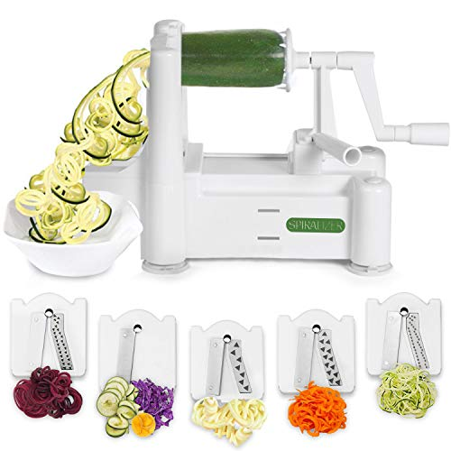 Spiralizer 5-Blade Vegetable Slicer, Strongest-and-Heaviest Spiral Slicer, Best Veggie Pasta Spaghetti Maker for Keto/Paleo/Gluten-Free, Comes 4 Recipe Ebooks