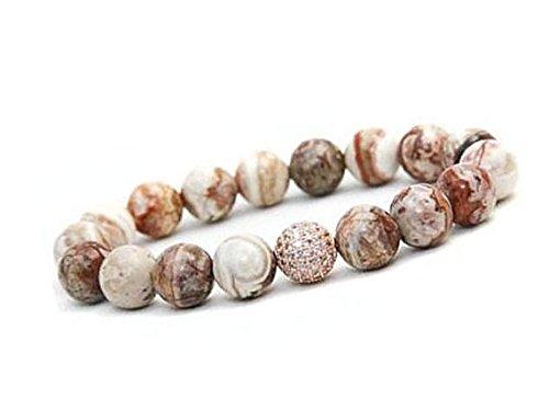 Pooja Gems 8mm Multi Colour Natural Agate Stone Bracelet (Multi Colour Mexican Agate)