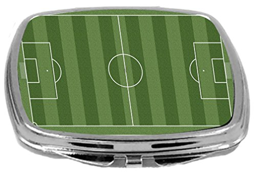 Rikki Knight Compact Mirror, Soccer Football Field Aerial View, 3 Ounce by Rikki Knight