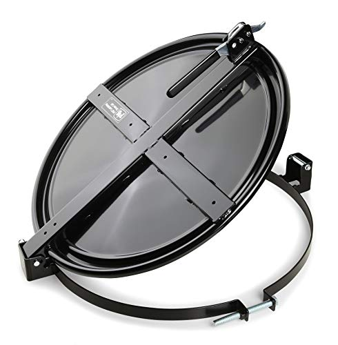 New Pig Latching Drum Lid, For 55 Gal Steel Drums, One-Hand Latch, Bolt-Ring, Locking Lid, 26.75' L x 23.25' W x 4.375' H, Black, DRM659-BK