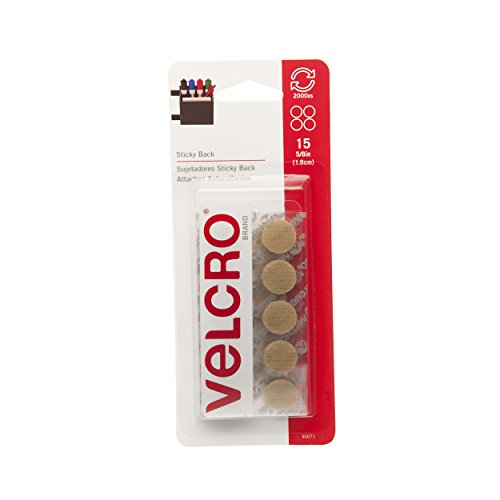 VELCRO Brand - Sticky Back Hook and Loop Fasteners | Perfect for Home or Office | 5/8in Coins | Pack of 15 | Beige