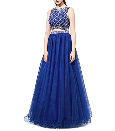 - Long Prom Dress Two Pieces Tulle Evening Gowns with Beads,6,RoyalBlue