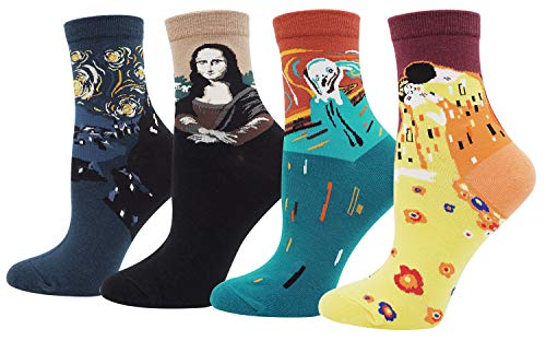 (Women's Lady's Fashion Famous Collection Art Patterned Funny Crew Socks Halloween Socks 4 Pairs, Multi Color)