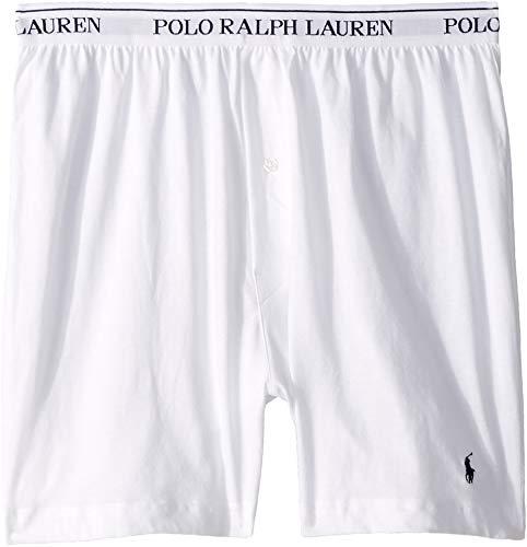 White Short 100% Cotton (Polo Ralph Lauren Classic Fit Cotton Boxers 3-Pack, L, White)