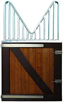 ESTRUCMADER - Puerta 1 Hoja con Cuello de Cisne para Box de Caballo. Mod.asturcón 115x211, Bicolor Cerezo+Nogal