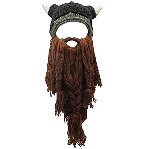 Viking Beard Hats (Creative Original Barbarian Knit Hair Beard Hat and Roman Knight Helmet Visor Cosplay Knit Beanie Hat)