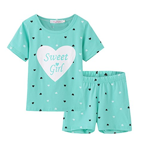 MyFav Big Girls Summer Pajama Set Heart Shape Printed Cute Sleepwear Shorts ()