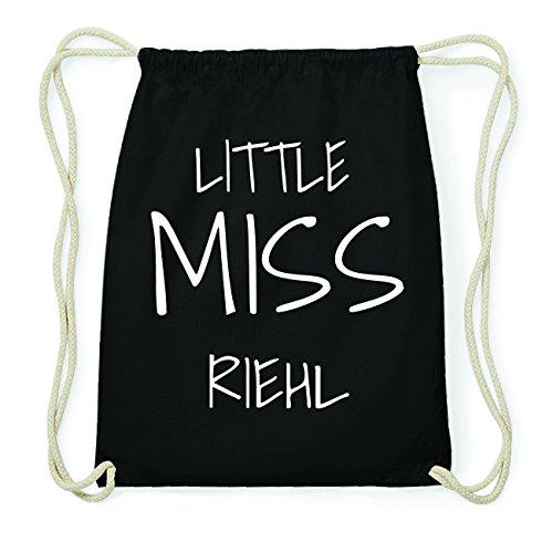 JOllify RIEHL Hipster Turnbeutel Tasche Rucksack aus Baumwolle - Farbe: schwarz Design: Little Miss